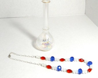Womens Casual Collar Single Strand Glass Beaded Necklace Red, Opque White, Blue