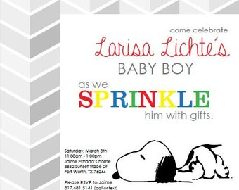 Custom Snoopy Baby Shower Invitation