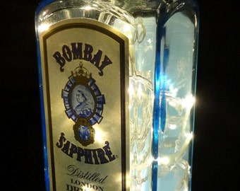 Upcycled Bombay Sapphire Gin Glass Bottle Lamp