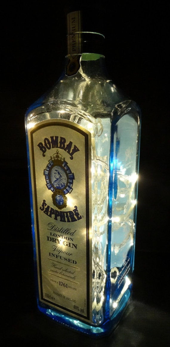 Upcycled Bombay Sapphire Gin Glass Bottle Lamp By Lighthows