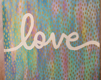 Pastel and Gold love wall art