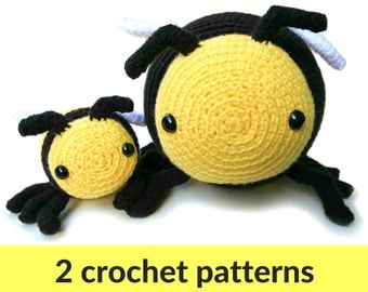 Bee amigurumi patterns - two bumble bee patterns, large and small crochet stuffed animals, cute crochet pattern, bumble bee amigurumi