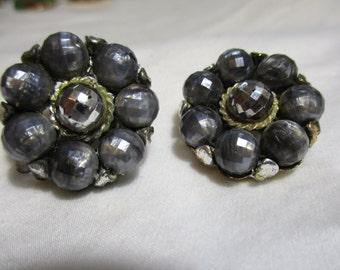 Vintage Grey and Silver Pearl Like Beaded Clip On Earrings