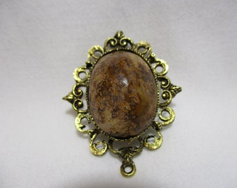 Gorgeous Brown Marble Brooch