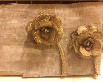 Barnwood burlap flowers