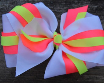 Large White bow with hot pink and neon yellow
