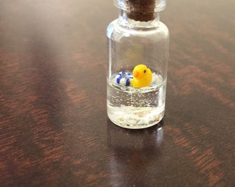 Miniature Rubber duck Bottle,Polymer clay,Cute,Handmade,necklace,Resin
