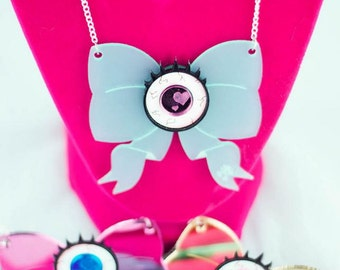 Kawaii Eyeball Bow Laser Cut Necklace - Creepy Cute/Pastel Goth Inspired Statement Jewelry