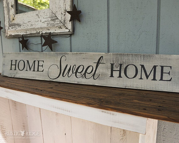 rustic country decor home sweet home sign by
