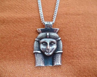Egyptian Goddess, Egyptian necklace, Egyptian Sterling Silver necklace,Hathor Goddess, Goddess Hathor, Hathor pendant (last one)