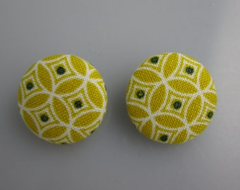 Fabric Covered Buttons - Yellow Patterned Buttons - Set of 2