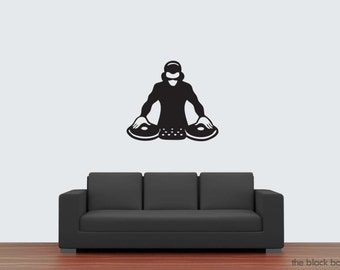 DJ with turntable wall decal