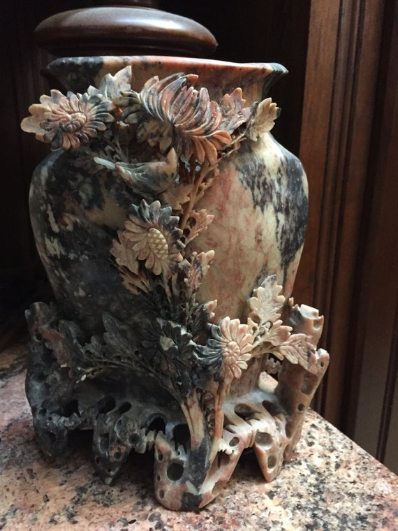 Large carved stone chinoiserie vase