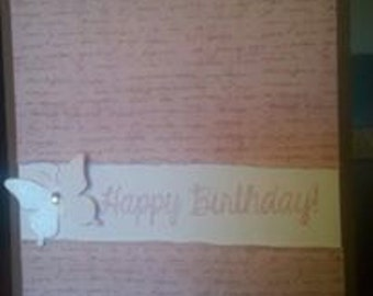 "Handmade ""Happy Birthday"" Card with butterfly"