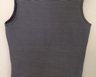 Essential 90s Black and White Striped Tank Top