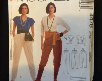 McCalls 4476 Misses top, pants and sash pattern