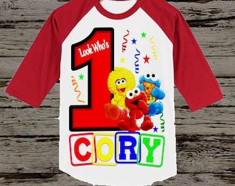 Sesame Street Birthday Shirt - Sesame Street Shirt - Red Raglan Available
