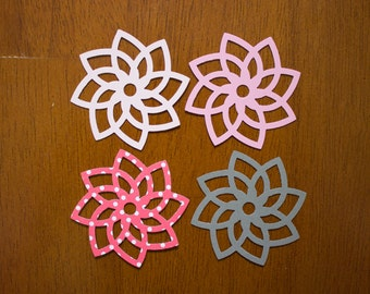 Fancy Stylized Flower Die Cuts - MULTIPLE COLORS - Scrapbooking - Card Making - Papercraft - Table Confetti