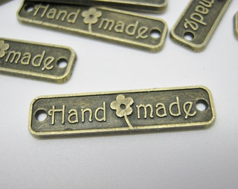 """Metal Labels Connectors """"Handmade"""" 25mm (1""""  Bronze Jewellery Joiners, Sew On Metal Clothing Tag, Hammer On Craft Labels Handmade Tags"""