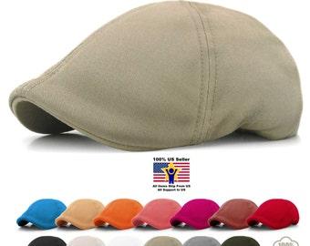 Solid Cotton Cap Mens Hat Golf Driving Summer Sun Flat Cabbie Newsboy