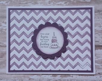 Purple Chevron Birthday Card