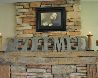 "Wood Letters-8-10"" Painted Letters- ""REDEEMED"" Home Decor"