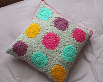 Crochet Cushion Cover // Floral Brights & Grey