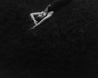 Black and White Photography-Original Fine Art Photography-Dream Photography-Lady-Woman-Grass-Photo Print