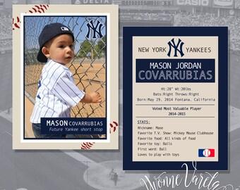 Printable baseball card - custom baseball card - first birthday stats - baseball - yvonne varela graphics