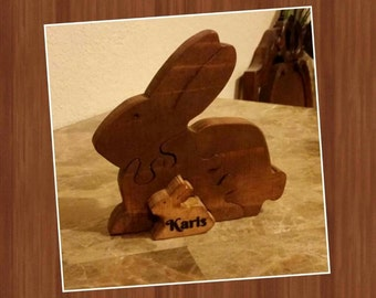 Wood Bunny Rabbit with Baby Puzzle