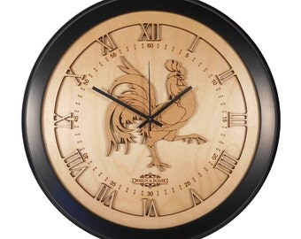 """Rooster Clock (16.75"""" dia.) X00024"""