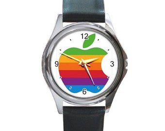 Rainbow Apple Round Metal Watch