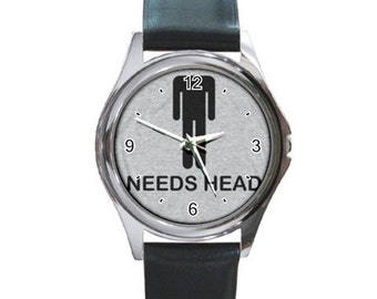 Needs Head  Round Metal Watch