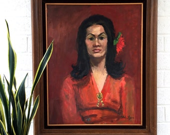 HUGE Mid Century Signed Oil Portrait Painting Aloha Logue Lady in Red 60's 70's