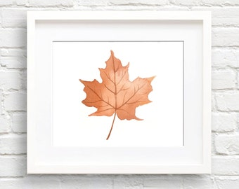Maple Leaf Art Print - Wall Decor - Watercolor Painting