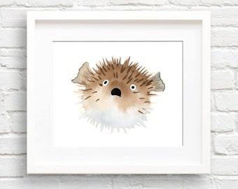 Puffer Fish Art Print - Nursery Art - Wall Decor - Watercolor Painting