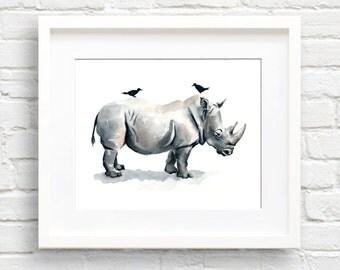 Rhino Art Print - Nursery Art - Wall Decor - Watercolor Painting