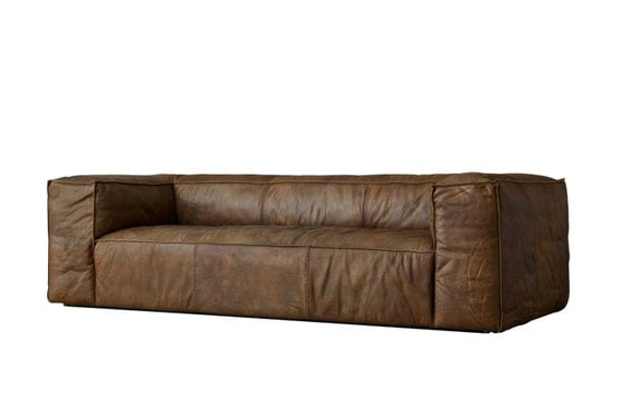 Items Similar To Rufus Whiskey Leather Sofa Tag By Tandem