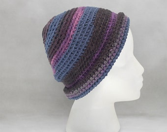 Blue and Black Crochet Beanie