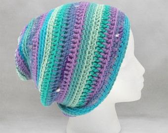 Purple and Green Crochet Beanie