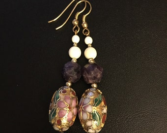 Gold Cloisonne and Amethyst Earrings