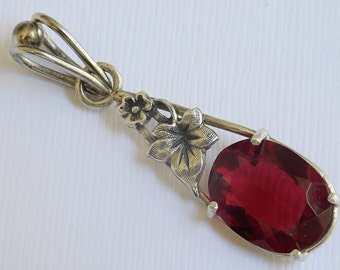 Sterling Silver Natural Red Topaz Handmade Necklace Pendant