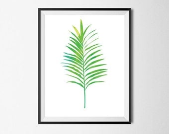 Palm Leaf Print, Wall Art, Watercolor, Gallery Wall #28