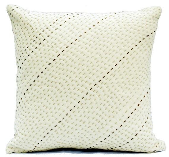 ... Pillows Sashiko Neutral Decorative Pillows for Bed-Pillows White Throw