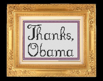 "Funny Cross Stitch DIGITAL PATTERN: ""Thanks Obama"""