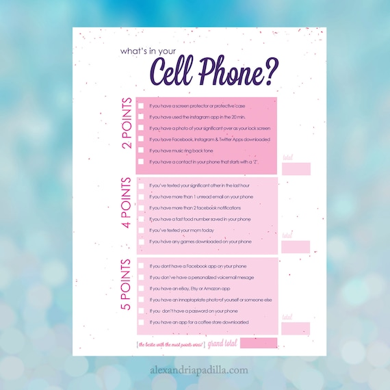 Versatile image within what's in your cell phone game free printable