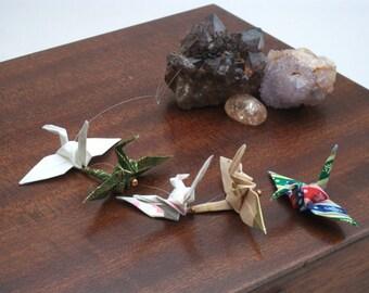 Origami crane mobile handing / 5 Multi coloured cranes / No. 3878