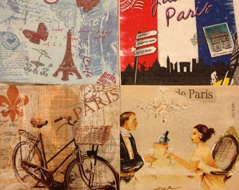 CLEARANCE Decoupage napkins set of 4 paris france french eiffel tower vintage