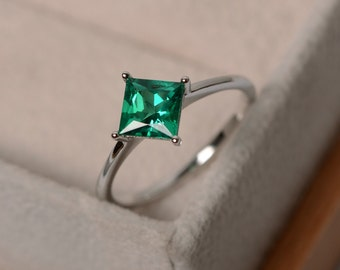 green emerald ring may birthstone ring gemstone solitaire promise ring for her engagement ring