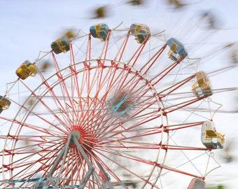 County Fair #1, Red Ferris Wheel with Sky Shadow, signed photograph, custom printed, carnival, modern art, modern wall decor, magical